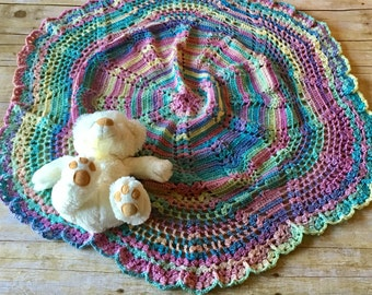 HANDMADE Unique Crocheted Circle Baby Blanket. Multicolored. Rainbow. Baby Gift. Babyshower.