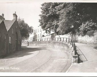 Vintage 1910s Postcard Tetbury England United Kingdom UK Chipping Hill Street Town Scenic View RPPC Real Photograph Postally Unused