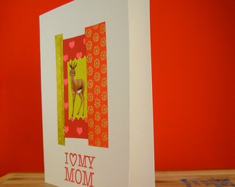 Mothers Day Card, Hand crafted card with funny Quirky Creature ,