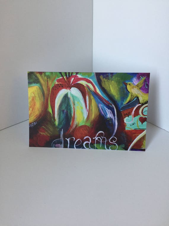 Dreams with Stargazer lily and bird greeting card