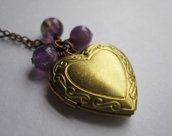 Vintage Brass Heart Locket Necklace, Heart Locket Charm, Amethyst Beads, February Birthstone