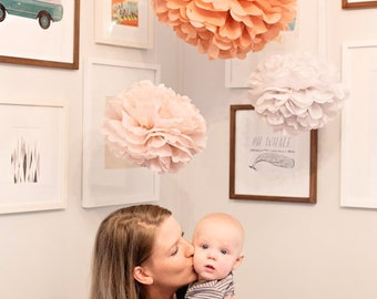 Tissue paper pompoms, baby shower decorations, baby mobile DIY, hanging pom poms, birthday party decorations, flower pompom, wedding, party