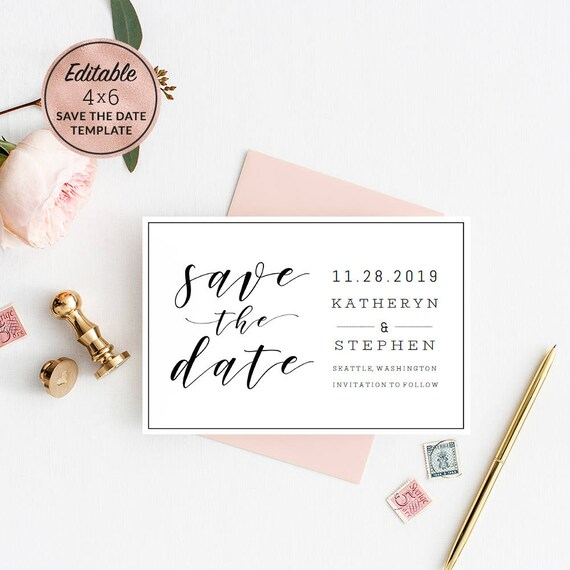 Modern Wedding Save The Date Card Template Download Printable