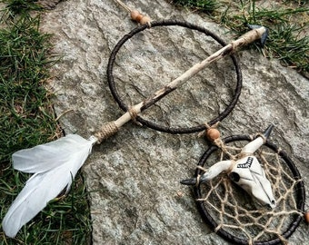 Dream catcher with arrow driftwood, head of Buffalo, dreamcatcher, Brown and white cruelty free feathers, ethnic, Bohemian, Native American