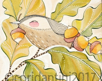Original Watercolor bird and acorns, nuthatch,  ON SALE