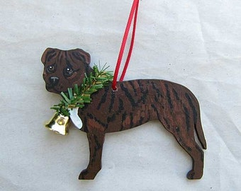 Hand-Painted PITBULL TERRIER BRINDLE Wood Christmas Ornament...Artist Original, Christmas Tree Ornament Decoration
