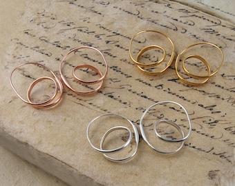 Silver Hoop Earrings - Gold Hoop Earrings - Rose Gold Hoop Earrings - Unique Earrings - Simple Earrings - Modern Earrings - Unusual Earrings