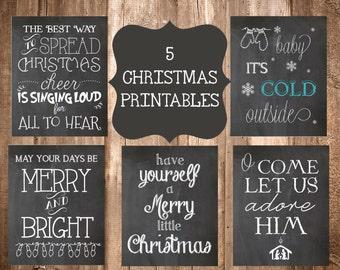 5 Chalkboard Christmas Printables- 8x10 Printables