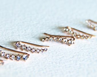 Pretty Curved Rhinestone Pave Bar Earrings in Rose Gold