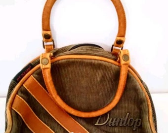 Dunlop ladies vintage super cute tote style corduroy leather bag purse very rare 8 inches small