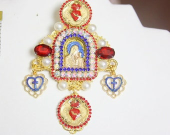 Icon Cathedral Style Madonna Virgin Mary Sacred Heart Huge Brooch