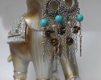 Turquoise/ Tiger's Eye Boho Earrings