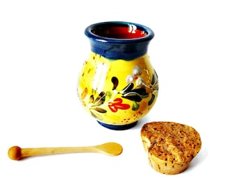 Antique French Pottery Honey Pot / Marmalade Jar with Wooden Spoon/ Hand Painted Jam Jar/ French Mustard Pot