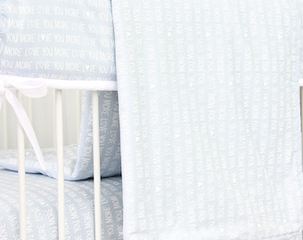 Love You More Blue Baby Blanket | Baby Blue and White Crib Blanket