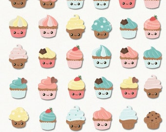 50% OFF Kawaii Cupcake Clipart, cupcake clip art, kawaii cupcake vector, cute cupcake digital art, commercial use with Instant Download