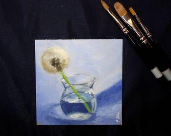 "Glicee Print of Original Oil Painting of Dandelion    4""x4""    Fine Art Print, Still Life"