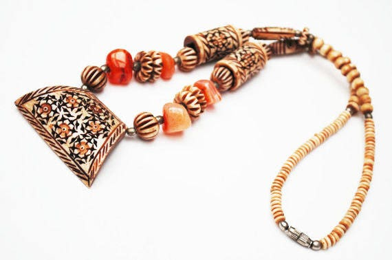 Boho Necklace  Carved Bone   carnelian jasper gemstone bead   tribal  hippie
