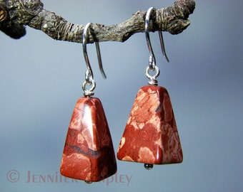 Red Jasper Dangle Earrings: Healing Brecciated Jasper Gemstone Pyramids Wire-Wrapped with Nickel-Free, Hypoallergenic Copper, Gold or Silver