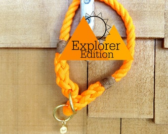 Explorer Edition Orange Rope Training Collar, Harbor Hound Collar, Rope Dog Collar, Slip-On Collar, Rescue Orange Collar