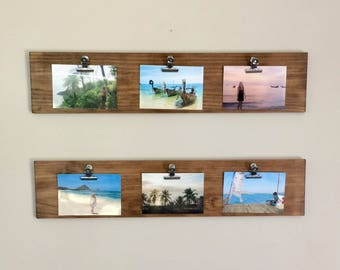 Rustic Wood Photo Hangers - 2 Piece Set - Timber Clip on Picture Frames - Farmhouse Style - Horizontal fits 4x6 Photos