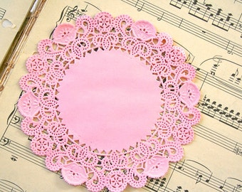 "50 Round 5"" PASTEL PINK French Lace Paper Doilies"