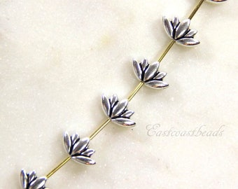 Small Lotus Beads, 12mm, TierraCast, Make A Statement Collection, 12 mm Flower Beads, Silver Plated Lead Free Pewter, 4 or More Pieces, 1212