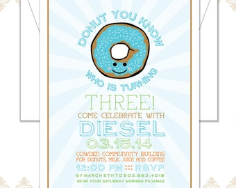 Donut Birthday Party Invite - Donut Party - third Birthday Invite - Modern Donut Birthday - Donuts Celebration - Sprinkles Donut Invite