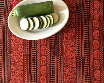 Hand Block Printed Cotton Fabric from India - Bohemian Fabric - By the Yard - Natural Vegetable Dye