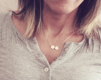 2 Initial Necklace / Personalized Disc Necklace / Two Monogram Disc Necklace / Mini Monogram Necklace / Mother Initial Necklace / 3 Initial