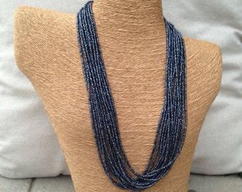 Navy blue beaded necklace, navy seed bead multi-strand necklace, navy bridesmaids, navy necklace, navy blue bridesmaids, navy blue necklace
