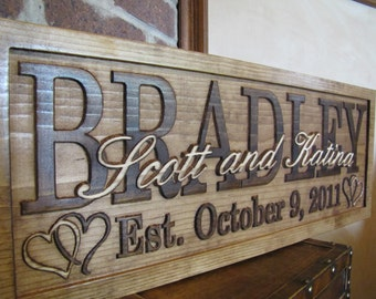 Personalized Wedding Gift custom Family Name Signs 3D Wood Sign Lovejoystore Established Anniversary custom heart name sign Christmas Gift