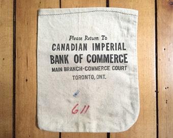 Vintage Money Bag - CIBC Bank Memorabilia - Bank Advertising Advertisment
