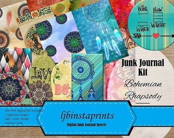Bohemian Junk Journal Kit, DIY Junk Journal Kit, Bohemian Theme Junk Journal Kit, Instant Download