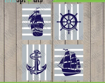 INSTANT DOWNLOAD - Nautical Print set, Ship print, Pirate Print, Boys Room, nautical nursery, Nautical print, Item  076D