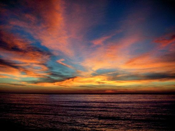 Sunset at Sunset Cliffs 8x10 Blue Yellow Orange