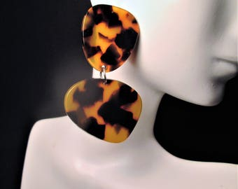 Animal Print Earrings Brown Leopard Print Animal Print Jewelry Ethnic Tribal Big Bold Chunky Statement Oversized Drag Queen Large Acrylic