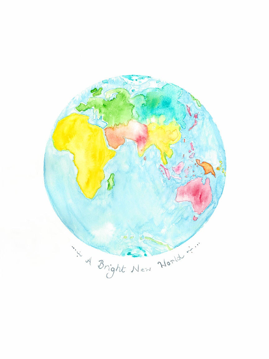 Childrens World Map Watercolour Print Planet Earth - Children's maps to print