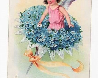VALENTINE, FAIRY/ CUPID, Forget me not Bouquet, Tucks Valentine Post Card Series No. 11, Floral Missives, 1908