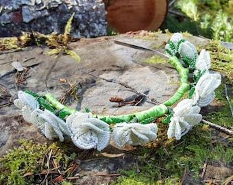 Ivory beaded rose tiara