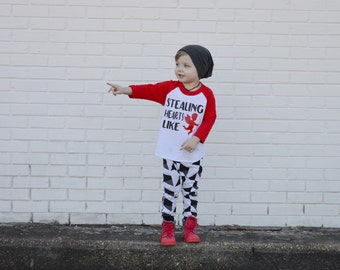 boy valentines day outfit, valentines day baseball tee, toddler boy valentines day shirt, boys cupid shirt, stealing hearts like cupid ragla
