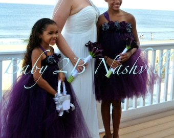 Flower Girl Dress  Wedding Flower Girl Dress in Plum and Gunmetal Baby - size 5 Girls