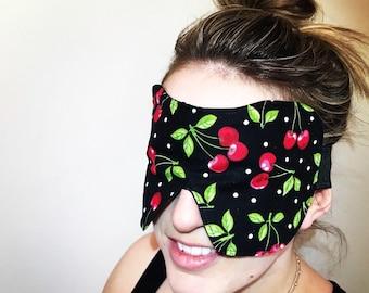 Oversized Womens Sleeping Sleep Travel Eye Mask Stretchy Silk Satin Cherry Cherries
