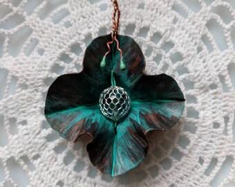 Verdigris Copper Flower Pendant with Aqua-glass - Foldformed Copper, Handpainted Patina, Torch-fired Enamel Tendrils, Original design.
