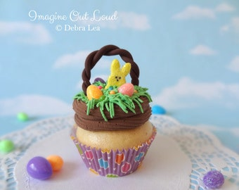 Fake Cupcake Handmade Easter Basket Spring Faux Candy Eggs Rabbit Home Decor