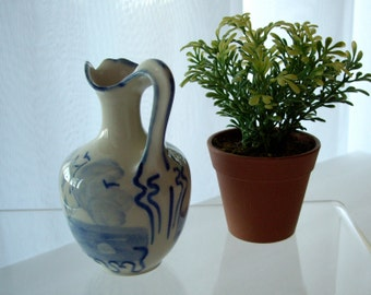 Vintage French Porcelain Pitcher signed by artist Lable Francois 1950s