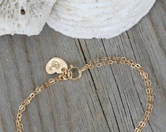 Personalized Child tiny infinity bracelet, 14k gold filled, Stamped Initial heart tag, monogram, letter, little girl bracelet, baby bracelet