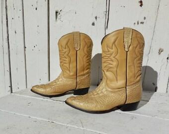 ALLIGATOR Boots/Crocodile Boots/Boys Cowboy Boots/Kids Cowboy Boot/Girls Cowboy Boots/Little Kids Cowboy Boots/CABALLO DORADO/Kids Size 2.5