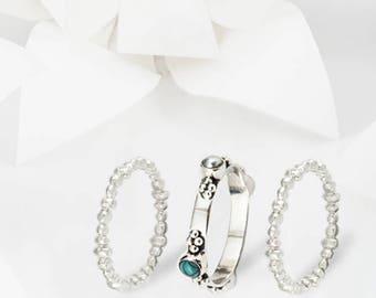 Plata Silver & Turquoise Stacking Ring Set