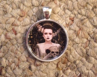 Bride of Frankenstein Pendant Necklace-FREE SHIPPING-