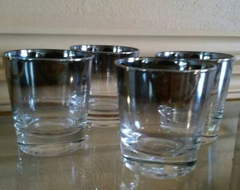 Mid Century Mercury Lowball Glasses Set of 4